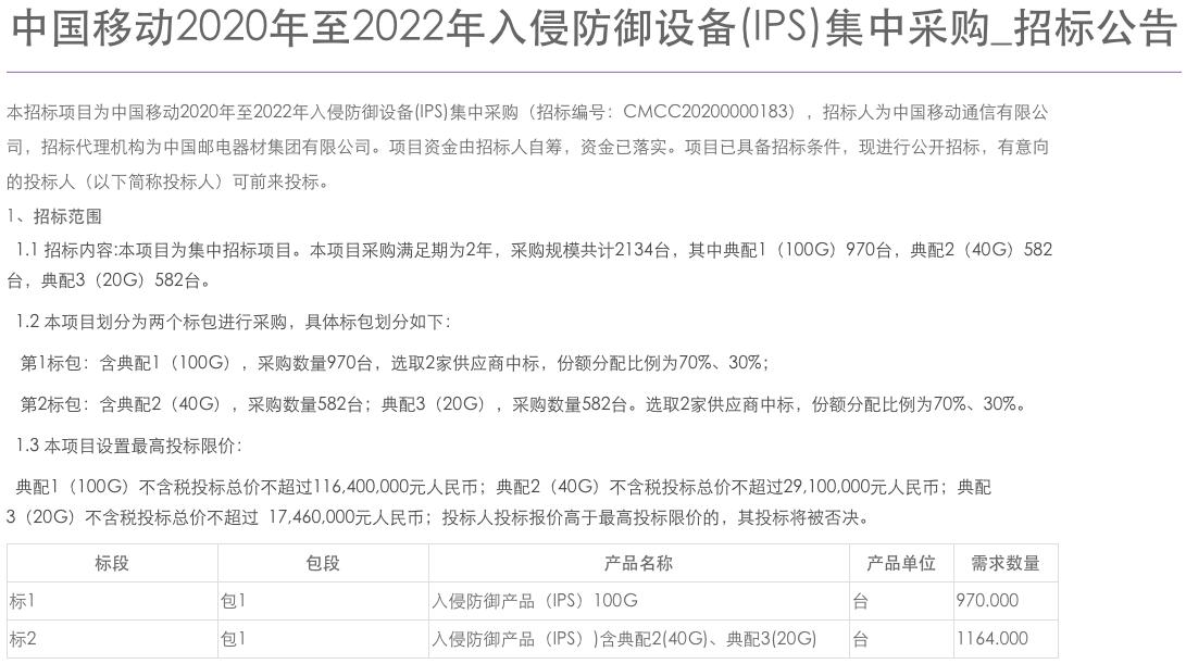 中国移动入侵防御设备集采:规模为2134台,总限价1.6亿