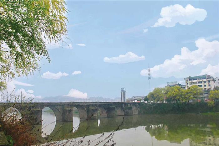 国家级重点文物镇海古桥被洪水冲毁